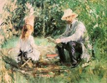 Eugène Manet and his Daughter Julie in the Garden (The Husband and Daughter of the Artist) - 1883